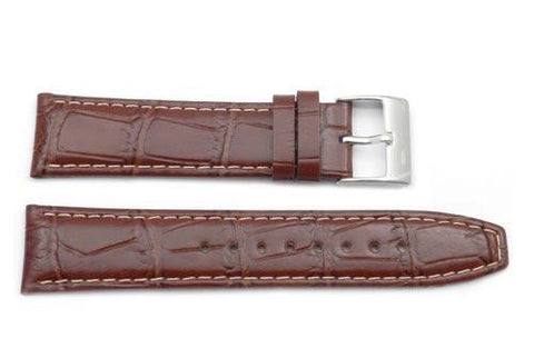 Kenneth Cole Genuine Textured Leather Brown Alligator Grain 22mm Watch Strap