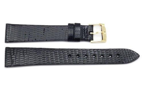 Movado Genuine Textured Leather Black Lizard Grain 17mm Watch Band