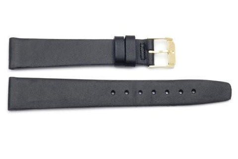 Movado Genuine Black Smooth Glove Leather 17mm Watch Band