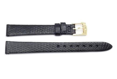 Movado Genuine Textured Leather Black Lizard Grain 12mm Watch Band