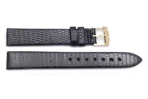Movado Genuine Textured Leather Black Lizard Grain 15mm Watch Strap