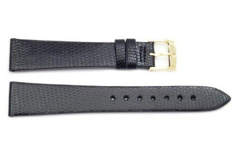 Movado Genuine Textured Leather Black Lizard Grain 18mm Watch Strap