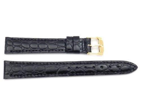 Movado Genuine Textured Leather Black Crocodile Grain 14mm Watch Strap