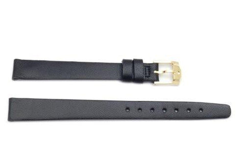 Movado Genuine Smooth Leather Black 12mm Long Watch Band
