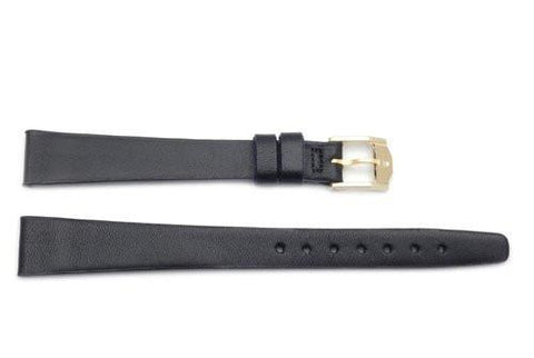 Movado Genuine Smooth Leather Black 14mm Long Watch Strap