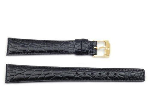 Movado Genuine Textured Leather Black Crocodile Grain 16mm Long Watch Band