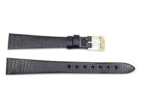 Movado Genuine Black Lizard Leather 14mm Watch Strap