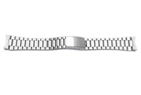 Seiko Silver Tone Stainless Steel Fold-Over Clasp 19mm Watch Bracelet