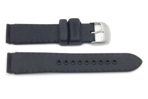 Genuine Seiko Black Silicone 18mm Watch Strap