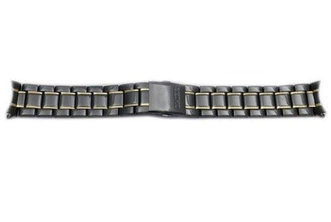 Seiko Dual Tone Black and Gold 20mm Fold-Over Push Button Clasp Watch Bracelet
