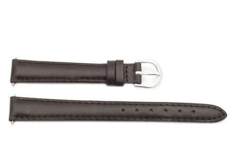 Timex Dark Brown Padded Calfskin Leather 12mm Ladies Watch Band