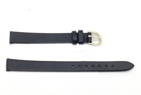 Timex Black Calfskin Smooth Leather 11mm Long Ladies Watch Band