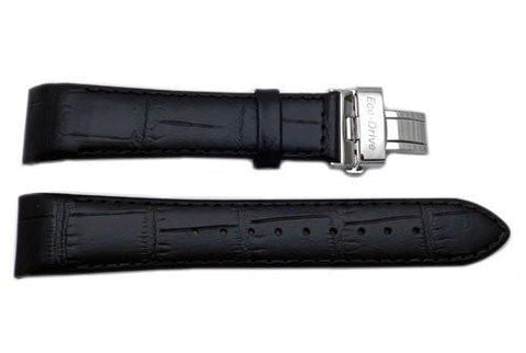 Genuine Citizen Eco-Drive Black Textured Leather 21mm Watch Band