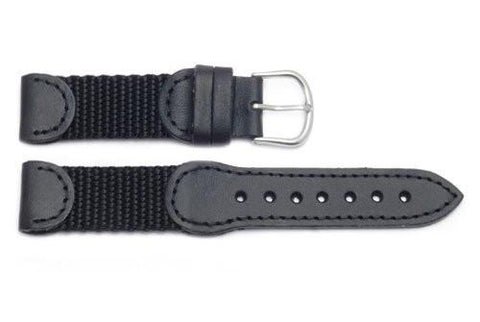 Genuine Swiss Army Black Mid-Size Length Leather/Nylon 18mm Watch Strap