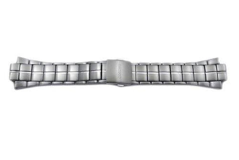 Seiko Silver Tone Stainless Steel Fold-Over Push Button Clasp 29/15mm Watch Bracelet