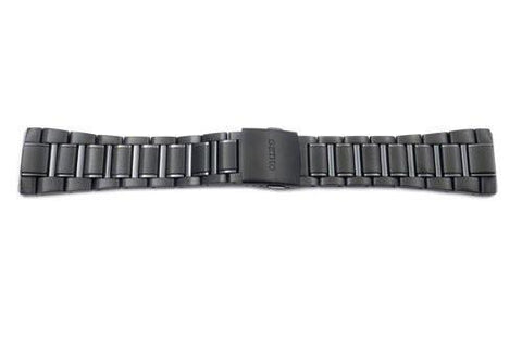 Seiko Black Ion Plated Stainless Steel Push Button Fold-Over Clasp 26mm Watch Bracelet