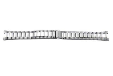 Seiko Silver Tone Stainless Steel Push Button Fold-Over Clasp 16mm Watch Bracelet