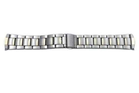 Seiko Dual Tone Stainless Steel Push Button Clasp 21mm Watch Bracelet