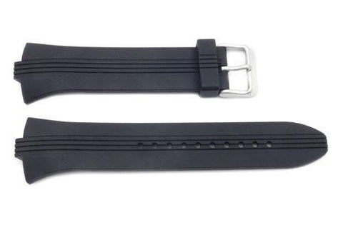 Pulsar Black Smooth Rubber 28/8mm Watch Strap