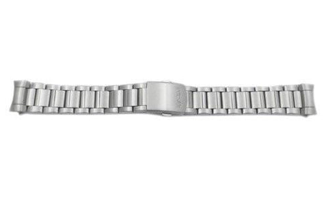 Pulsar Silver Tone Stainless Steel Push Button Fold-Over Clasp 20mm Watch Bracelet