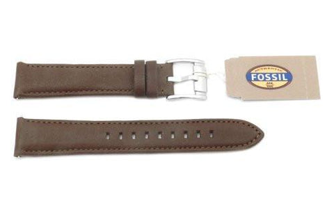 Fossil Genuine Leather Smooth Brown 18mm Watch Strap
