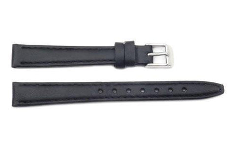 Genuine Leather Smooth Black Ladies Watch Strap