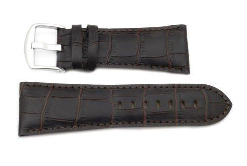 Genuine Textured Leather Square Dark Brown Crocodile Grain Watch Strap