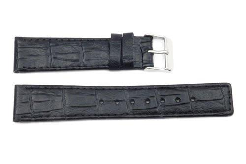 Genuine Textured Leather Black Square Crocodile Grain Square Tip Watch Band