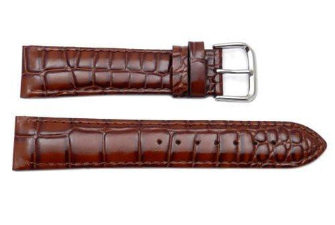 Genuine Textured Leather Crocodile Grain Brown Watch Band