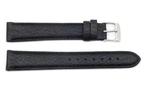Genuine Textured Leather Black Buffalo Grain Long Watch Strap