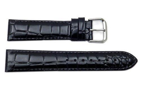 Genuine Textured Leather Crocodile Grain Black Watch Strap