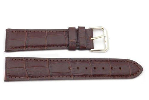 Genuine Textured Leather Square Crocodile Grain Brown Watch Band