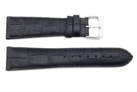 Genuine Textured Leather Square Black Crocodile Grain Watch Strap