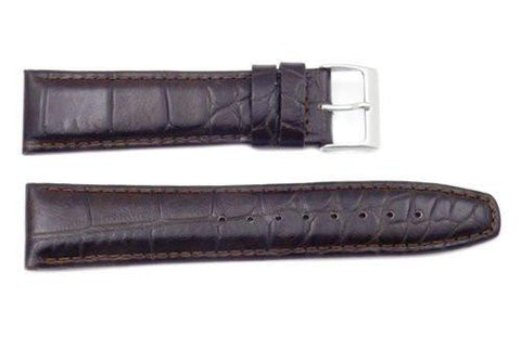 Genuine Textured Leather Dark Brown Crocodile Grain Watch Band