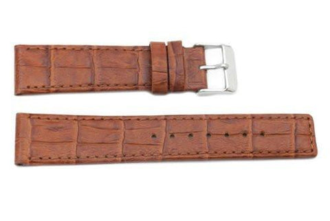 Genuine Textured Leather Rouille Crocodile Grain Watch Strap