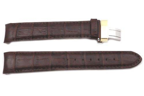 Citizen Eco-Drive Genuine Textured Leather Dark Brown Alligator Grain 20mm Watch Band