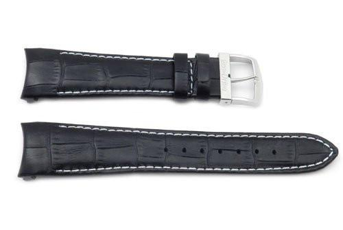 Citizen Eco-Drive Genuine Textured Leather Black Alligator Grain 22mm Long Watch Strap
