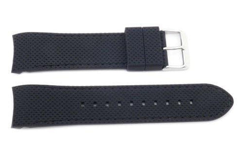 Hadley Roma Black Silicone Diver Curved End 24mm Watch Strap