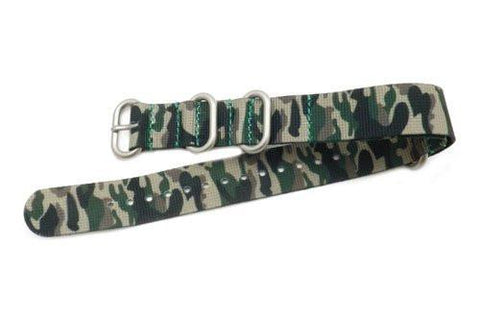 Hadley Roma Camouflauge One Piece Nylon Nato Style Watch Strap