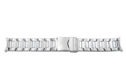 Hadley Roma Stainless Steel Sport Link White Ion Plated 20mm Watch Bracelet