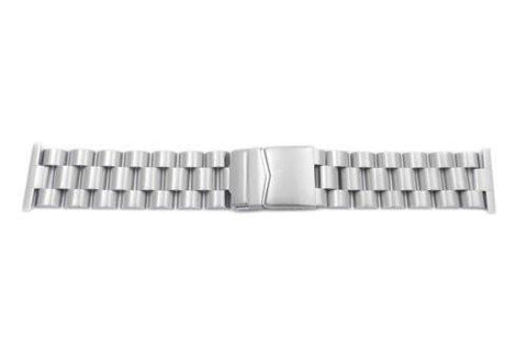 Hadley Roma Satin White Stainless Steel Wide Solid Link Watch Bracelet