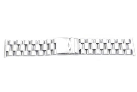 Hadley Roma Stainless Steel Wide Solid Link Watch Bracelet
