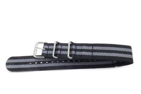 Hadley Roma One Piece Black and Gray Striped Waterproof Nylon 280mm Long Watch Strap