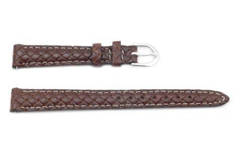 Timex Brown Genuine Woven Leather Thin Ladies 12mm Watch Strap