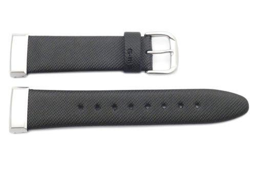 Genuine Casio Black Textured Leather Silver Tone Ends 14mm Watch Strap- 10069755