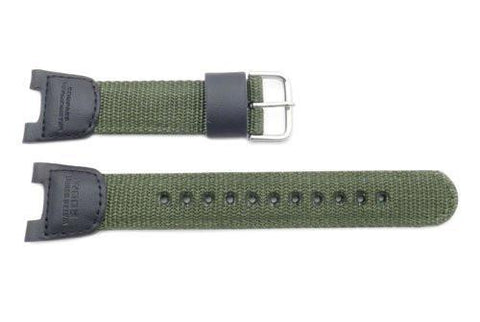 Genuine Casio Illuminator Series Olive Green Nylon 25mm Watch Strap- 10304188