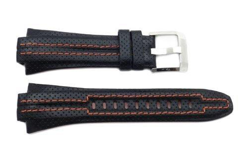 Seiko Black Sport Leather Orange Stitching and Lining 28/15mm Watch Strap