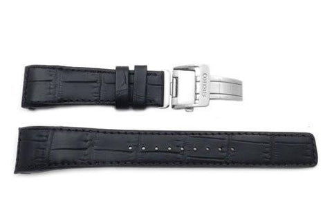 Seiko Black Genuine Textured Leather Deployment Clasp 22mm Watch Band