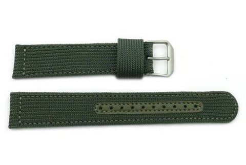 Seiko Chronograph Olive Green Nylon 20mm Watch Band