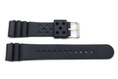 Black Casio Style 22/20mm Sports Rubber Long Watch Band